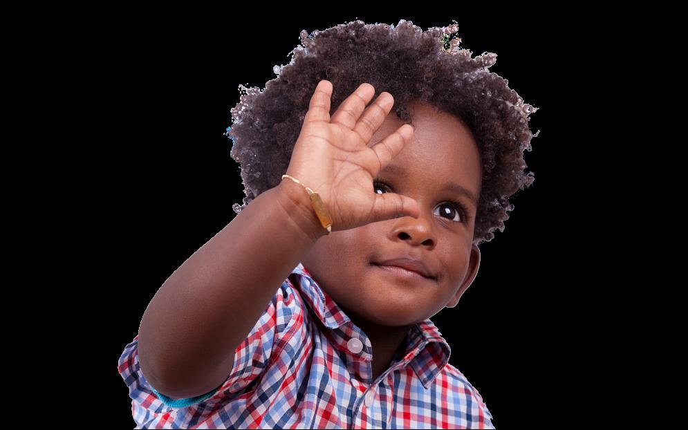 child waving his hand